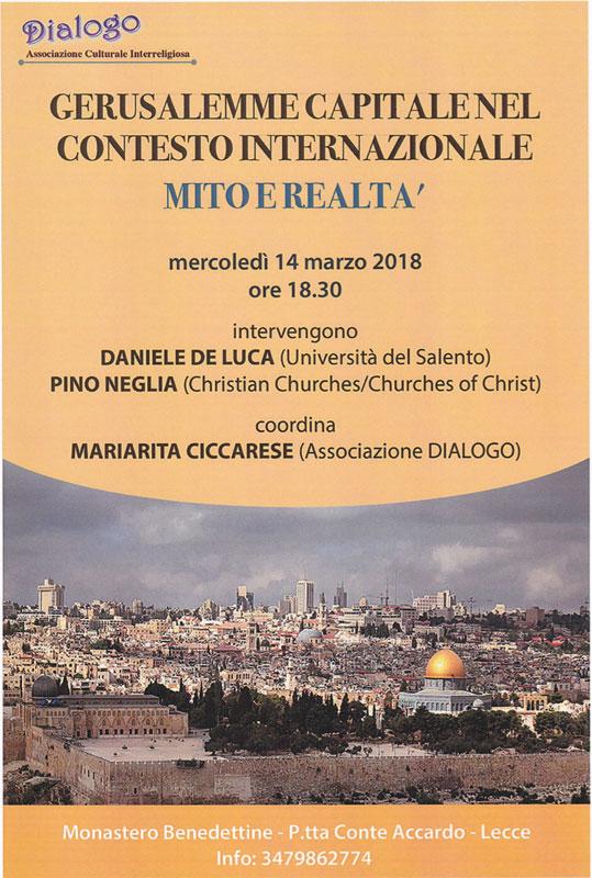 Gerusalemme Capitale nel contesto Internazionale - Mito e Realtà
